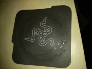 The Razer registration card, with the handy logo on the back.