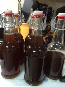 Bottles of Krupnikas ready to age.