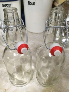 Sterilized bottles ready for the delightful concoction.